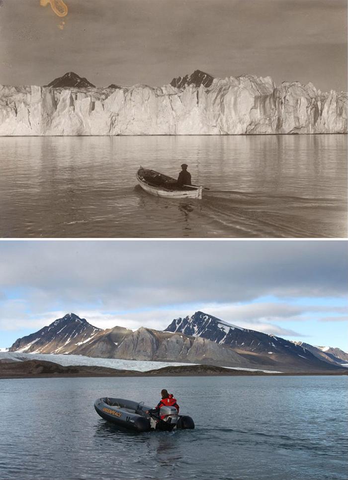 Fotografías de glaciares noruegos repetidas 100 años después