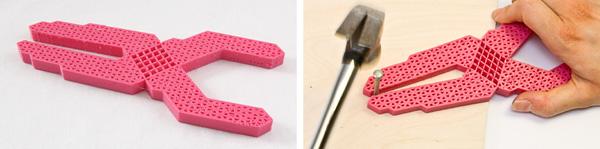 El mecanismo de un picaporte para puerta hecho de una sola pieza impresa en 3D