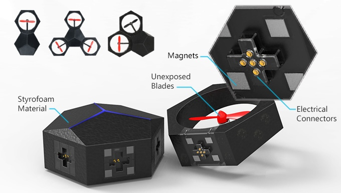 Un dron modular que puede configurarse con distintas formas