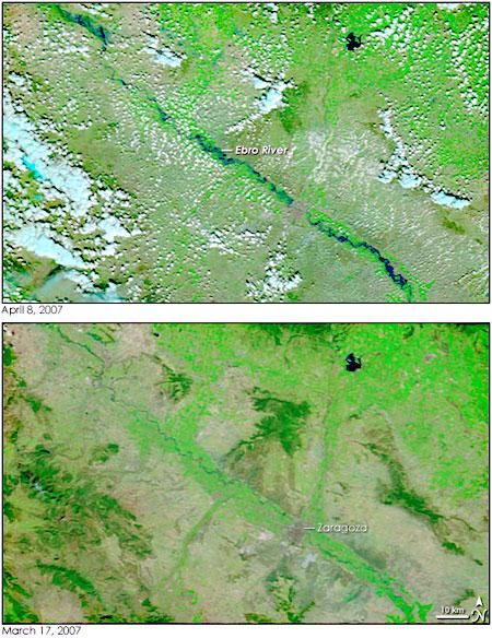 Crecida del rio Ebro a su paso por zaragoza