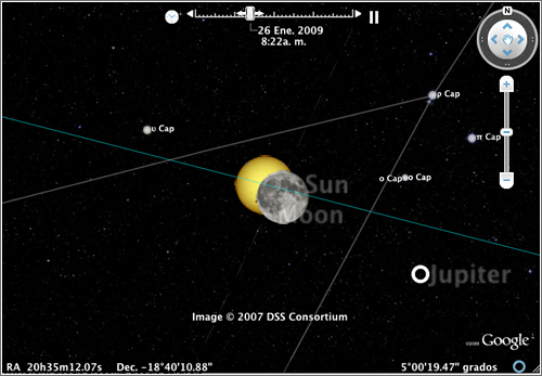 Eclipse 26 Enero - Google earth