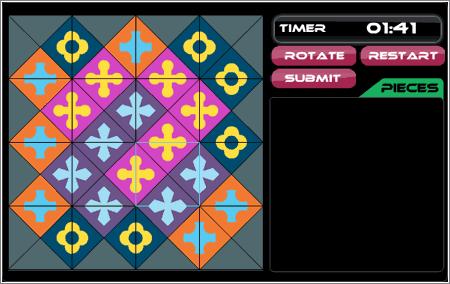 Una solución del mini-Eternity II de 16 piezas, de prácticas