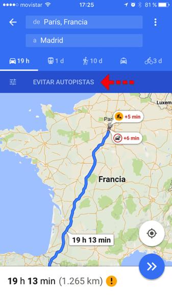 Evitar autopistas google maps