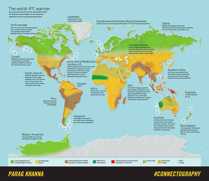Four degrees world map