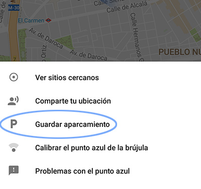 Google guardar aparcamiento maps