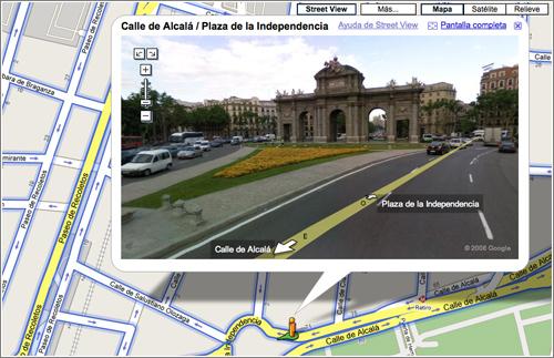 La Puerta de Alcalá en Google Street View (Google Maps)