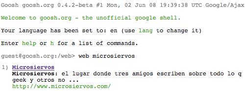 Goosh.org Google Shell