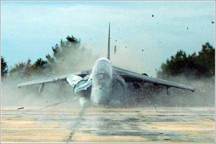 Harrier atterizando sin ruedas