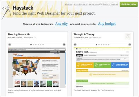 Haystack: un servicio para encontrar al mejor diseñador web en el pajar