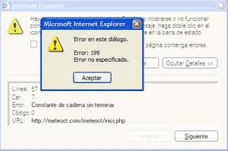 Error autorreferente de Internet Explorer