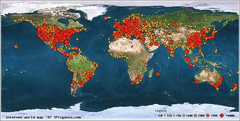 Internet World Map 2007 © IPligence