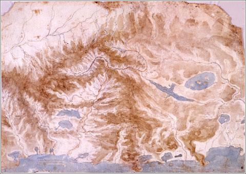 Italia Central, por Leonardo da Vinci (1502)