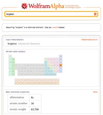 Krypton-Wolfram-Alpha
