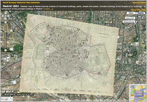 El Madrid de 1831 en Google Maps