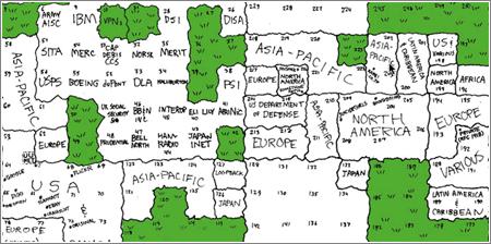Mapa de Internet, Espacio IPv4