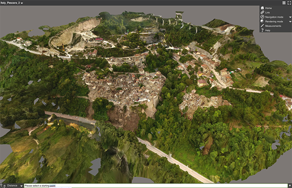 Mapa 3d pescara terremoto italia