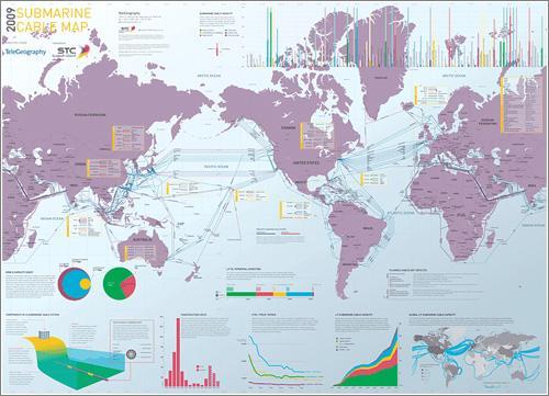 Mapa de los cables submarinos / Telegography
