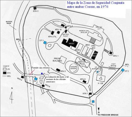 Mapa de la JSA (Corea) en 1976