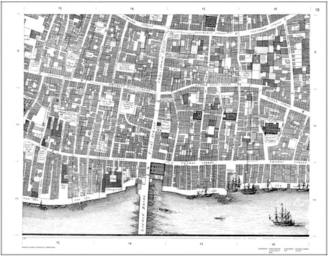 Ogilby and Morgan's large scale map of the city as rebuilt by 1676 - detail