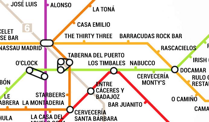 Un mapa del Metro con el atractivo de incluir el mejor bar de la