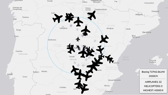 Mapa tráfico aereo representa altura