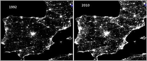 La contaminación lumínica en España en imágenes