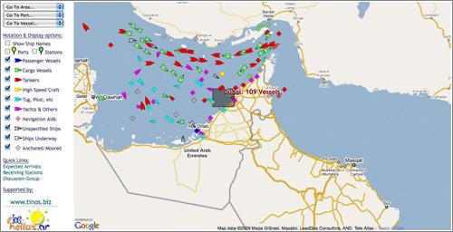 Marinetraffic: zona de Emiratos Árabes Unidos y Etiopía