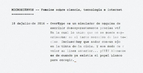 Un simulador de máquina de escribir en el navegador web