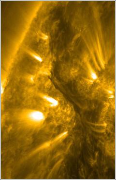 El sol emitiendo una majestuosa nube de gas de 800.000 kilómetros de alto (detalle) / Foto: NASA Goddard Space Flight Center