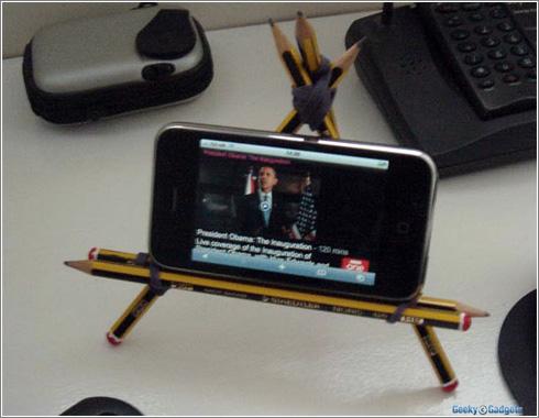 Soporte de baja tecnología para iPod/iPhone