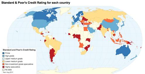 La calificación de la deuda de los países del mundo