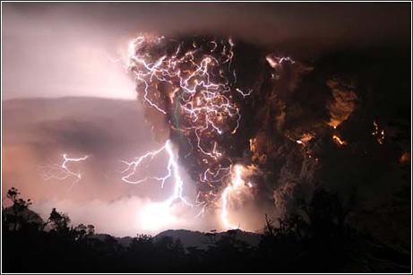 Rayos volcán erupción Chile