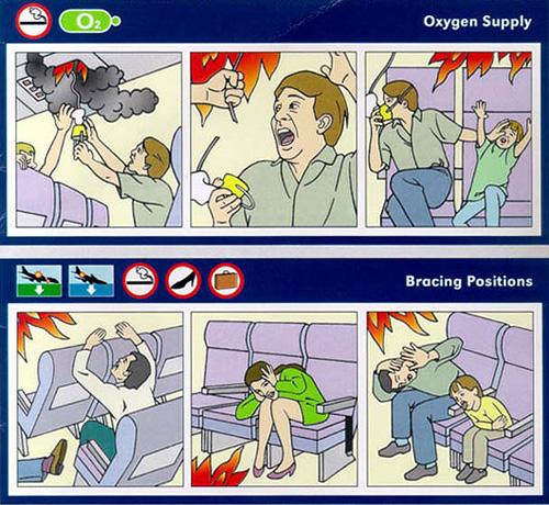 Instrucciones de seguridad de avión en versión Realidad