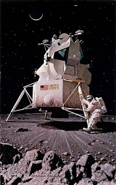 Rockwell nasa man moon