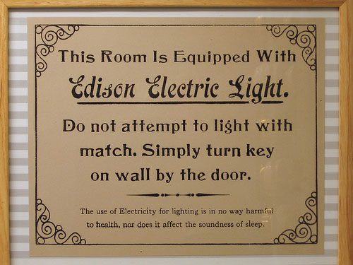 This room is equipped with Edison Electric Light (CC) Marcin Wichary