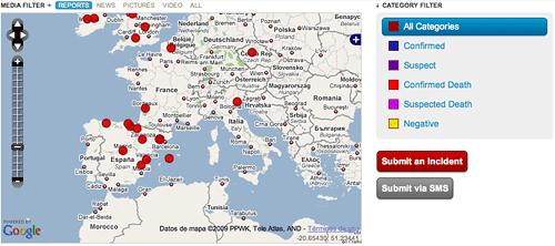 Seguimiento de la gripe porcina en Google Maps