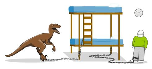 ¿cuanto tiempo sobrevivirias atado a una litera con un velociraptor? Sobrevivir-velocirraptor