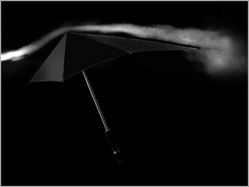 Sombrilla en túnel de viento