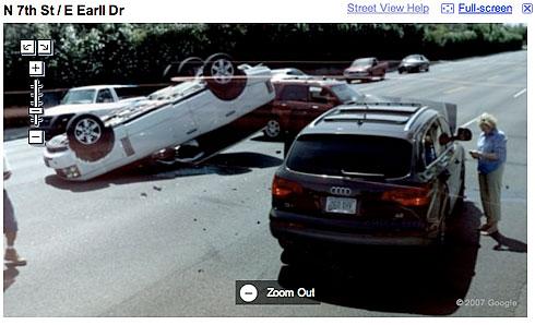Coches estrellados en Google Street View