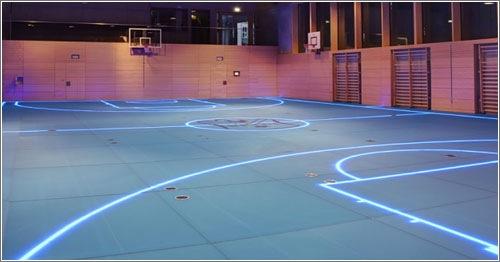 Este gimnasio utiliza iluminaci n led para cambiar las - Suelo gimnasio ...