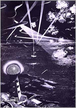 El Rayo de la Muerte de Nikola Tesla, con la Torre Wardenclyffe dominando la escena