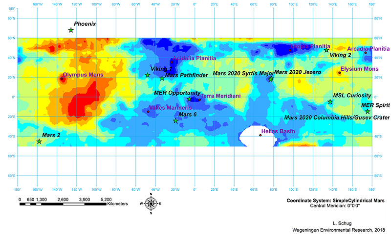 The ideal landing sites Mars