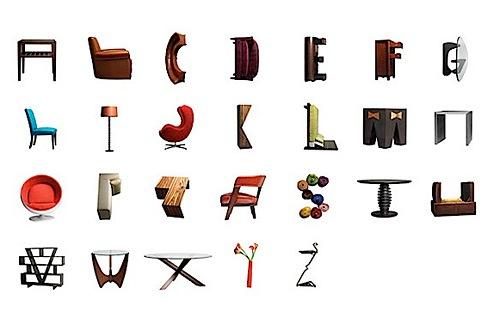 Tipografía con muebles