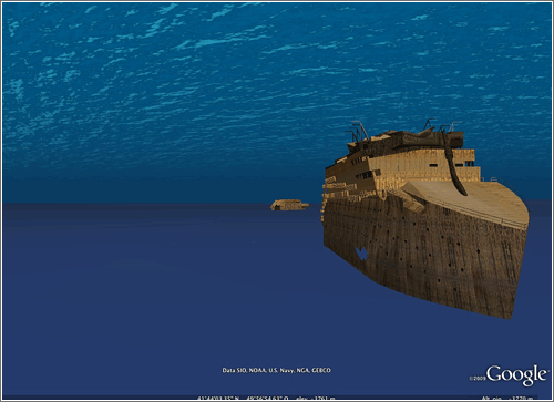 El Titanic en Google Earth 5