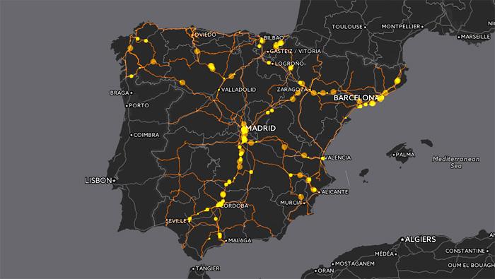 Trafico de Trenes de Larga Distancia en España