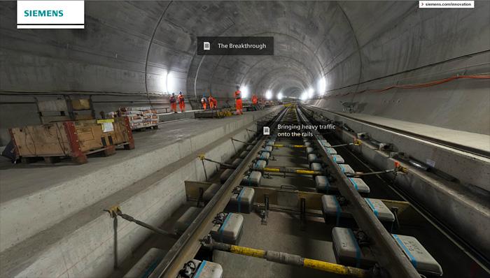 Visita virtual 360 tunel san gotardo siemens