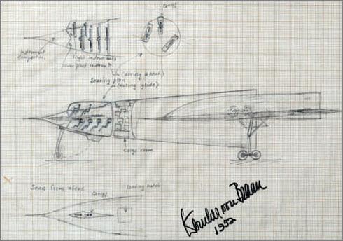 Bocetos de cohetes y naves diseñados por Wernher Von Braun