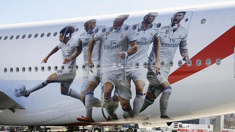 Los jugadores del A380 Real Madrid