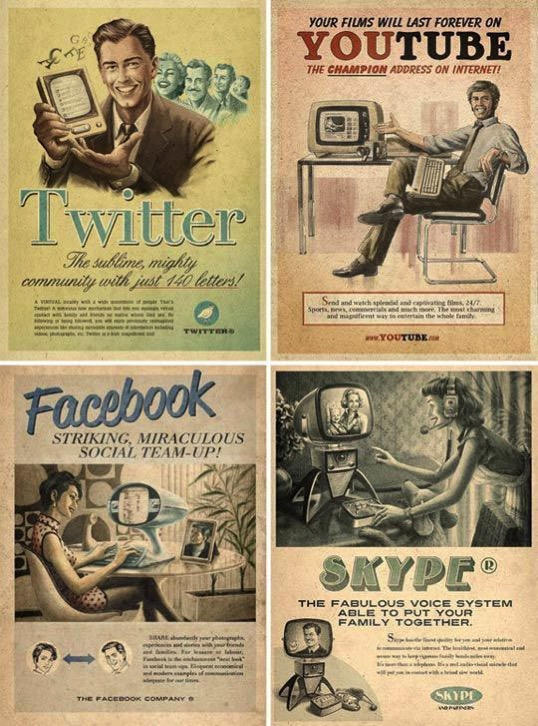 Anuncios retro de Facebook, Skype, Twitter y Youtube