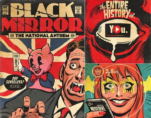 Portadas pulp para los episodios de Black Mirror